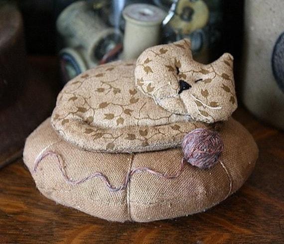 Primitive Napping Kitty Pincushion E PATTERN
