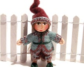 Miniature Gnome, Handmade, Hand Embroidered