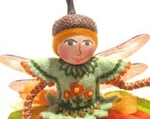 Marigold Fairy Art Doll, Hand Embroidered