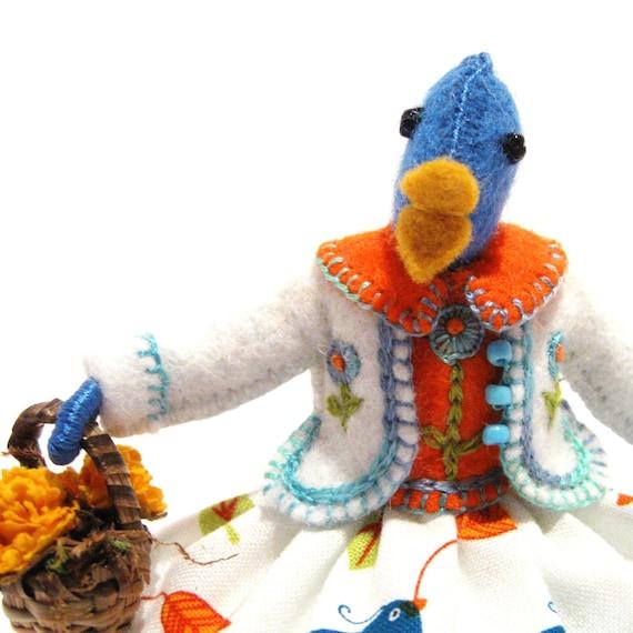 Art Doll, Blue Birdie, Miniature, Handmade