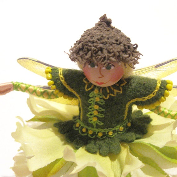 Lemon  Fairy Art Doll, Hand Embroidered