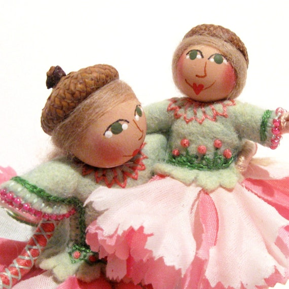 Art Dolls, Mama and Baby, Hand Embroidered