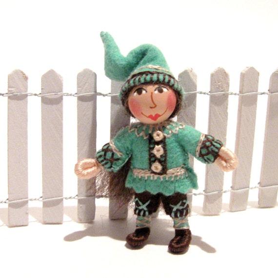 Miniature Gnome, Handmade, Hand Embroidered