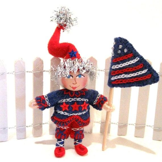 Miniature Patriotic Gnome, Handmade, Hand Embroidered