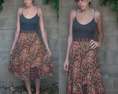 BOHEMIAN 1970s vintage ETHNIC floral print cotton HIGH WAIST skirt