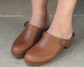 1970s BOHEMIAN caramel leather clogs ITALY size 9\/10