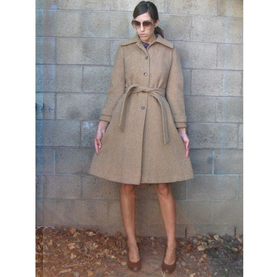 vintage wool coat FITTED and flared belted waist amazing fit and details