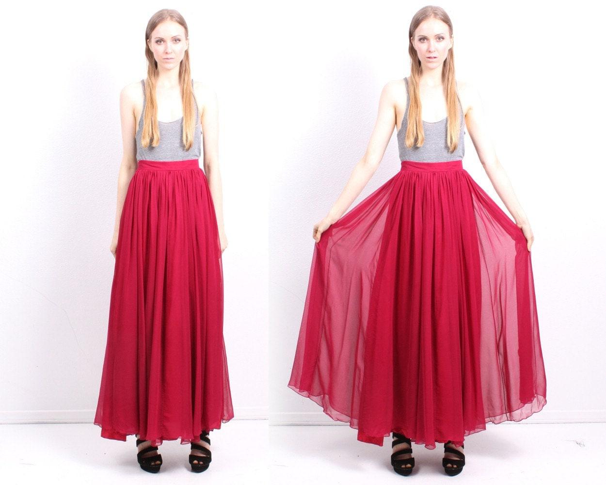 wine silk chiffon maxi skirt