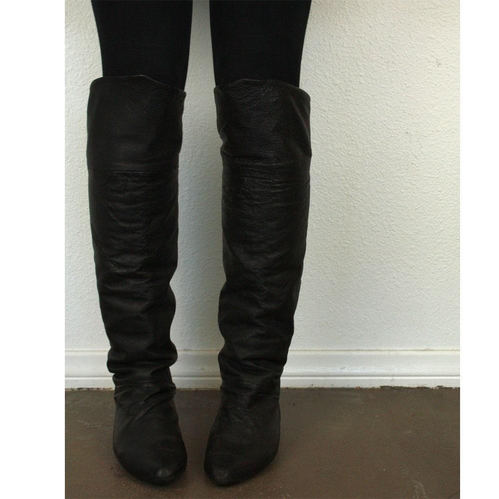 vintage otk the knee black leather flat boots 10
