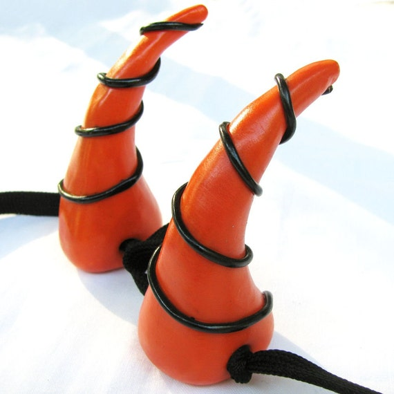 Spiral Halloween Dragon Costume Horns In Orange And Black