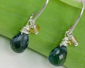 london blue topaz drops . earrings