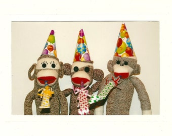 Sock Monkey Party Time card