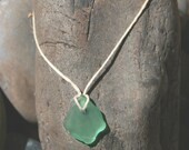 green glass and hemp pendant