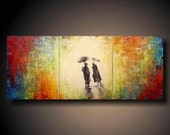 PAINTING HUGE JMJSTUDIO ORIGINAL 3 PIECE PAINTING 20 X 48 INCHES SILHOUTTE
