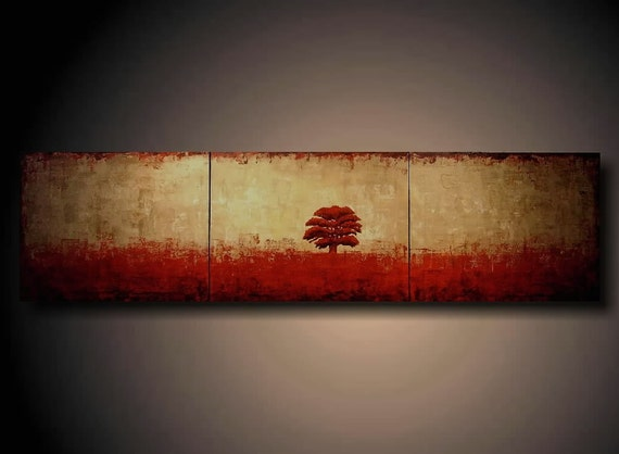PAINTING HUGE JMJSTUDIO ORIGINAL 3 PIECE TREE 16 INCHES X 60 INCHES----- RED RED RED