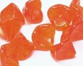 Czech Bell Flower Beads Transparent Orange  9mm FB-130