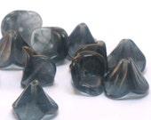 Czech Bell Flower Beads Montana Blue  9mm FB-129