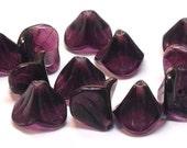 Czech Bell Flower Beads Deep Purple 9mm FB-126
