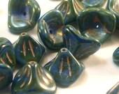 Czech Bell Flower Beads Green Blue Orange 9mm FB-192