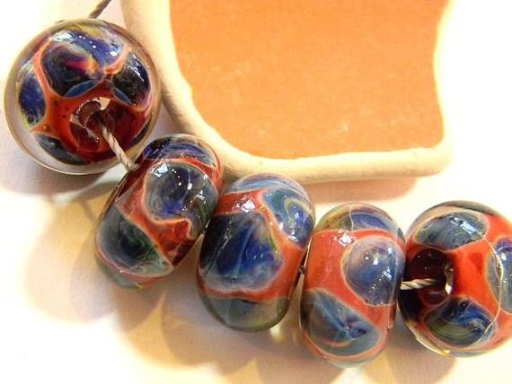 Handmade Lampwork Beads DESERT FLOWERS by Two Sisters Designs