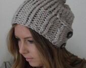 augustyn - a slouchy hand knit hat in linen