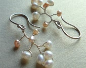 RESERVED for jenjenking - Cherry Blossom Chandelier - White and Pink - Earrings