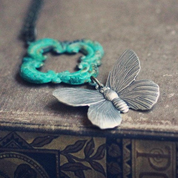 Patina and Silver Butterfly Necklace