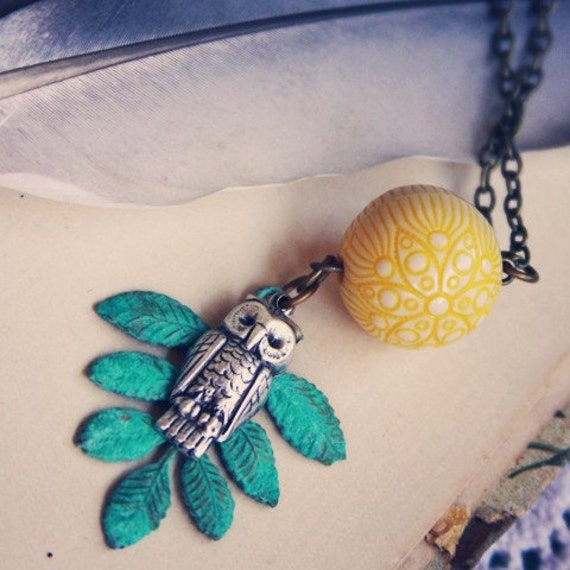 Yellow and Teal Owl Necklace