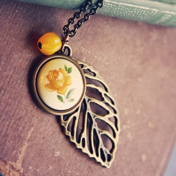 RESERVED FOR RACHEL Yellow Rose Layered Leaf Necklace