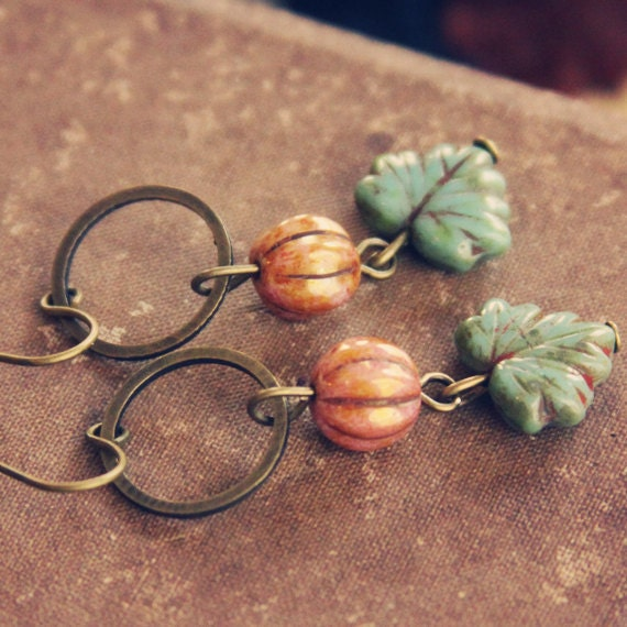 peach and teal maple leaf earrings