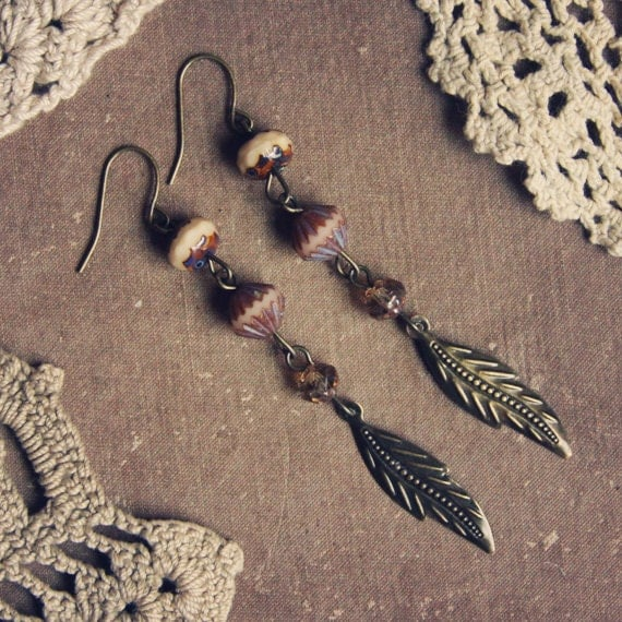 earth toned beaded leaf earrings