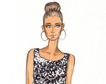 Carrie - Fashion Illustration Print - Brooke Hagel - SATC