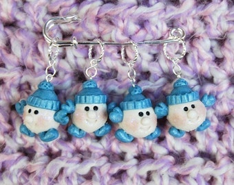 Snowball knitting or crochet stitch markers - Set of 4 - Polymer Clay