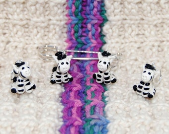 Cute Zebra knitting or crochet stitch markers - polymer clay