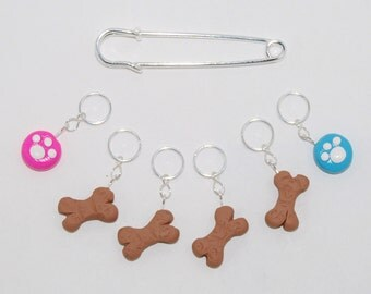 Dog Treat & Paw Print knitting or crochet stitch markers - Set of 6