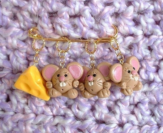 Mice and Cheese knitting or crochet stitch markers - Set of 4