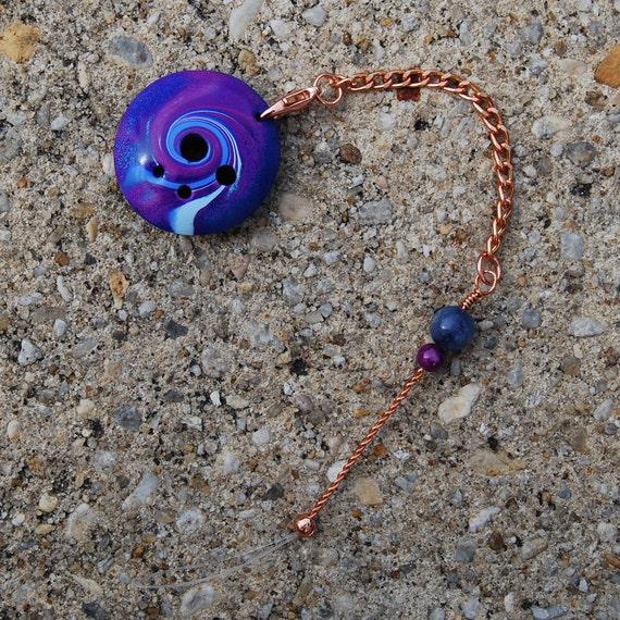 Spinner's DIZ & Threader - Blue and Purple Swirl Polymer Clay - No 1