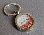 Map Key Ring  Cleveland Ohio  Stainless Steel Vintage  Atlas Ready to Ship