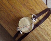 Map Word Bracelet  Bliss  Sterling Silver Chocolate Suede Leather