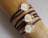 Map Word Bracelet  Love Sterling Silver Chocolate Suede Leather