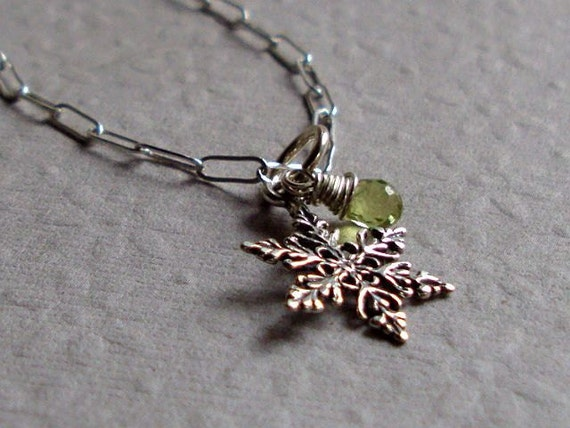 Snowflake Charm Necklace  Peridot and Sterling Silver