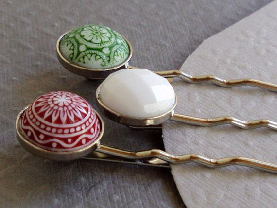 Christmas Hair Pins Three  Vintage  Red Green and White Patterned Glass and Lucite on Sale