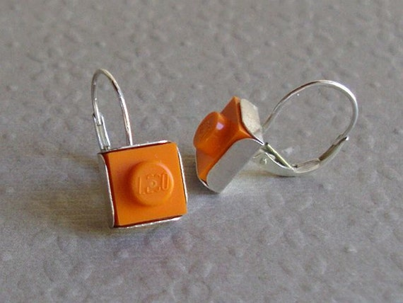 Lego Earrings Sterling Silver Pantone Orange