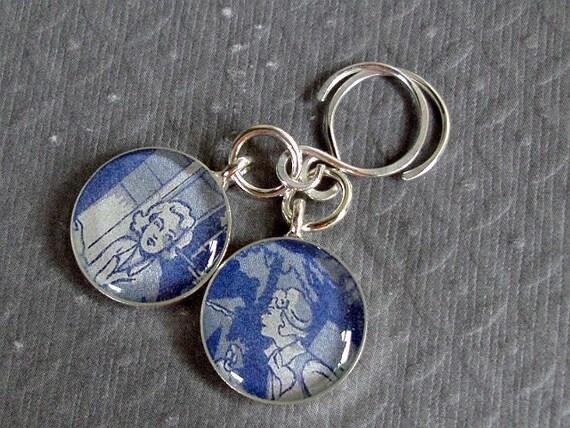Nancy Drew Earrings Vintage End Papers Sterling Silver
