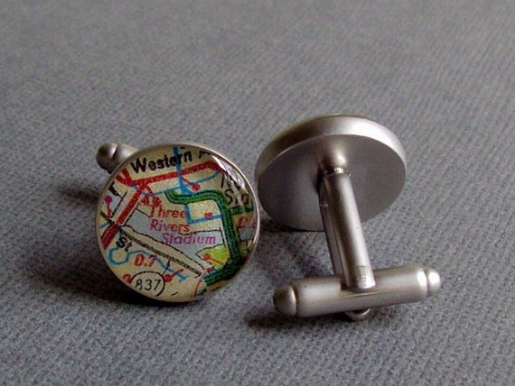 Three Rivers Stadium Cufflinks Vintage Pittsburgh Pirates Baseball Stadium Map  Reclaimed Sterling Silver Steelers