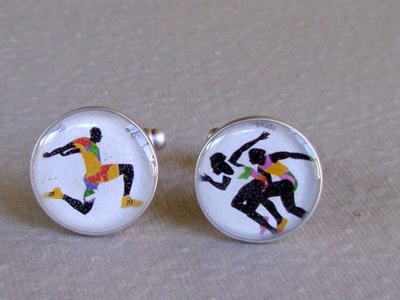 Reserved for Ciara Olympic Stamp Cufflinks Sterling Silver Track and Field  from Portugal 1992 Running