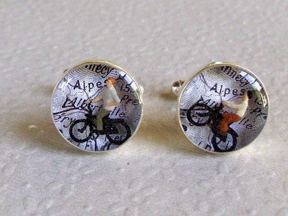 Bicycle Map Cufflinks Tour de France  Bespoke Vintage  France Atlas  Alps Alpes  Black and White Bike Cuff Links