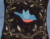 Needle Punch Pillow Primitive Pattern Blue Bird in a Vine Wreath