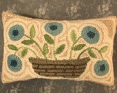 Needle Punch Pillow Primitive Basket Of Blue Flowers
