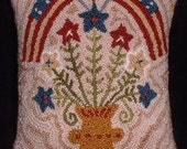 Finished Needle Punch Pillow - Vase full of Stars and Flags - Americana Pillow - Primitive Pillow